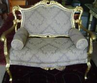 Louis 14th style Antique Settee w Real Gold Leaf - Restored