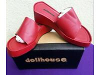 Leather Wedge Mules, size 5 by Dollhouse. Brand new/Boxed & Unworn.