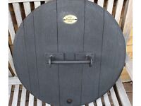 Whisky Barrel Lid in solid Oak with locally forged cast Iron handle