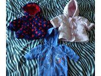 Girls first size/newborn coat bundle - miniclub, adams baby, F&F