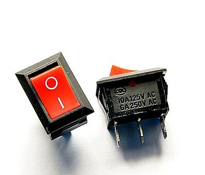 10 Pieces Red 6a10a Spst 3 Pin Onoff 2 Position Boat Rocker Switch