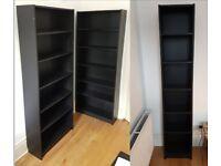 Ikea Billy Bookshelves - Black; two wide one narrow (all free)