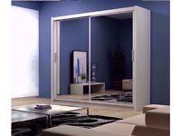 🔵CLASSIC OFFER 70 % OFF 🔴BERLIN 2 DOOR SLIDING DOORS WARDROBE WITH MIRROR IN 4 COLOURS - BRAND NEW