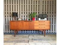 Vintage retro teak sideboard cupboard drawers beautility