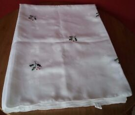 Rectangular White Embroidered Christmas Tablecloth with Holly
