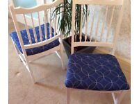 set of 4 beautiful white and blue shabby chic dining chairs