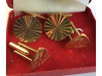 VINTAGE CUFFLINKS -2 PAIRS BELONGED TO MY FATHER & WORN A FEW TIMES IN THE 50-60's COME IN ONE BOX!