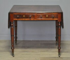 Attractive Antique Victorian Mahogany Sofa Writing Table With Turned Supports