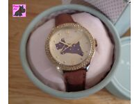 Radley RY2210 Brown Leather Strap Watch with Champagne Crystals - New - RRP: £95