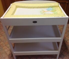 White baby changing table with changing mat plus two shelves