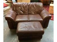 Lovely brown leather 2 seater sofa with matching stool (delivery available)