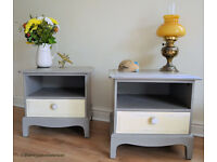 A beautiful pair of vintage Chalk Painted shabby chic bedside tables