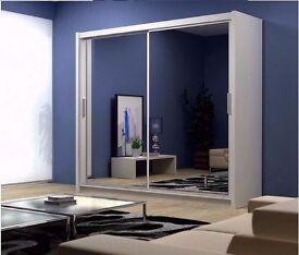 Chicago 2 Door Mirrors Sliding Wardrobe -180cm and 203cm - Hanging Rails in Black/White/Wenge/Walnut