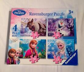 DISNEY FROZEN 4 IN A BOX JIGSAW PUZZLES FROM RAVENSBURGER. COMPLETE AND VGC.