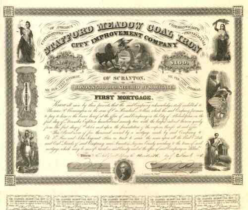 1858 Stafford Meadow Coal Iron Co Bond Certificate