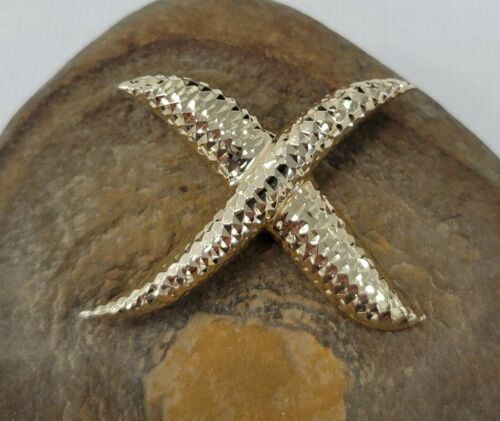 M Signed 14k Yellow Gold Diamond Cut Abstract Textured Cross 4 Sided Brooch Pin