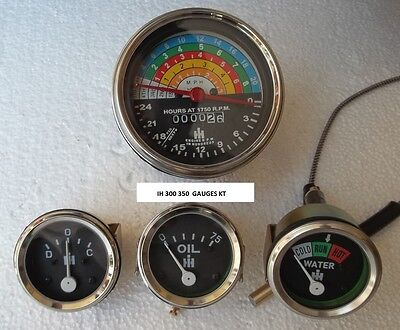 Ih Farmall Tractor Gauge-set-300-350-gas Utility-tachometer Temp Oil Ampere