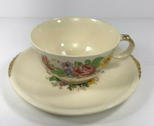 Paden City Pottery Vintage Wild Flowers Tea Cup with Saucer Floral
