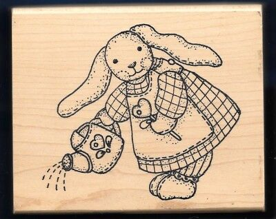 BUNNY RABBIT SPRING Water FLOWERS L-319 animal IMAGINE THAT wood RUBBER STAMP  for sale  Shipping to India