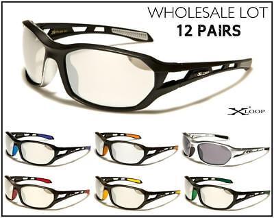 WHOLESALE LOT Men PREMIUM Cycling Fishing Sport Wrap Around SUN GLASSES 12 (Polycarbonate Glasses Wholesale)