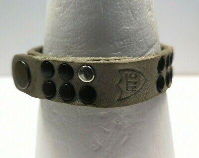 HTC Los Angeles distressed studs grey leather bracelet X-DISPLAY