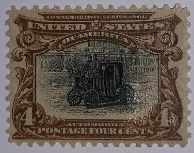 Travelstamps: 1901 US Stamps Scott # 296 Automobile, mint Ng hinged Pan-american