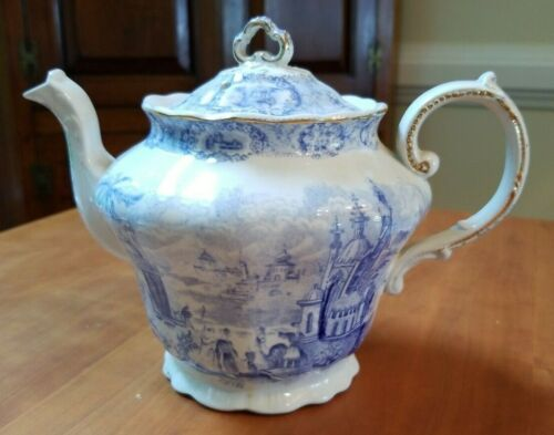 Antique Ridgways England Oriental Teapot Blue White Transferware Gold