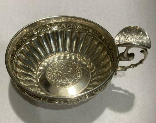 Sommelier Wine Tasting Porringer Cup Spanish 1808 Reale &1736 Tari Silver Coins