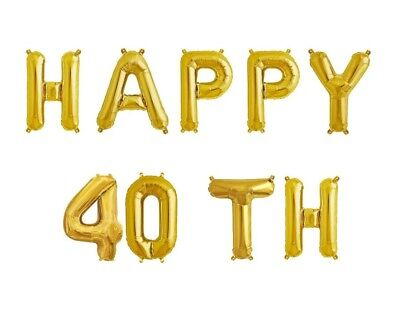 """HAPPY 40TH - 16"""" Gold Letter Balloons - 40th Bday - 40th Anniversary - US SHIP"""