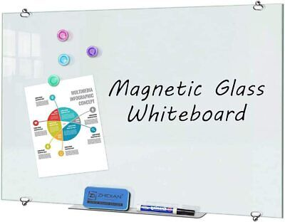 Magnetic Whiteboard Dry Erase Board 48 X 36 Inches Silver Glass Frame Office Us