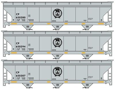 HO Scale - ACCURAIL 8122 CANADIAN PACIFIC ACF 3-Bay Covered Hopper 3-Car KIT Covered Hopper 3 Car