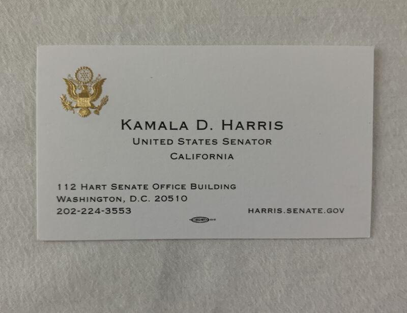 KAMALA HARRIS OFFICIAL BUSINESS CARD VICE PRESIDENT RARE SENATOR