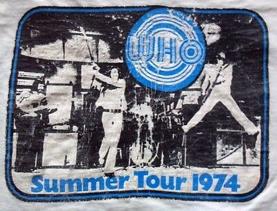 Vintage -THE WHO 1974 SUMMER TOUR Concert T-SHIRT- Rare - Distressed