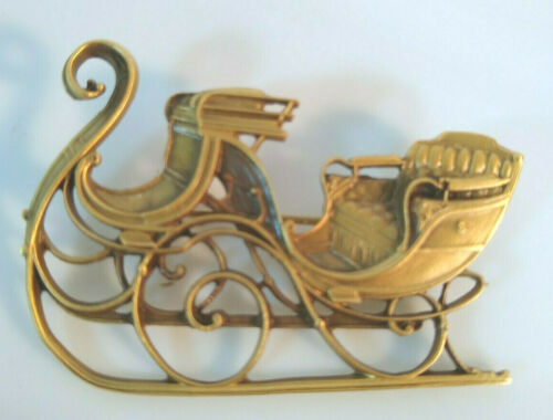 Sleigh Pin Brooch Shelburne Museum Vermont Christmas Holiday jewelry Vtg 1980s