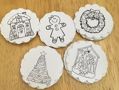 **50** Color Your Own Christmas Gift Tags Favor Tags Treat Tags Christmas Favor Gift Tags