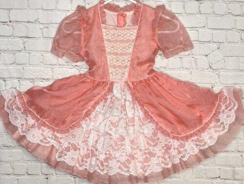 Vtg Sweet N Sassy Girl Full Circle Bell Dress Sz 6X Frilly Super Lacy Pink/Peach