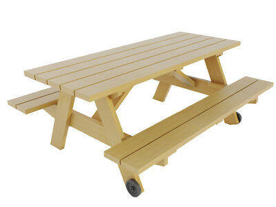Picnic Table w/ Benches Plans DIY Outdoor Patio Garden Furniture Build Your Own