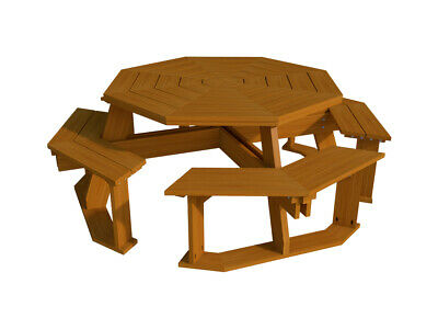 Octagon Picnic Table Benches Plans DIY Outdoor Patio Furniture Build Your Own ()