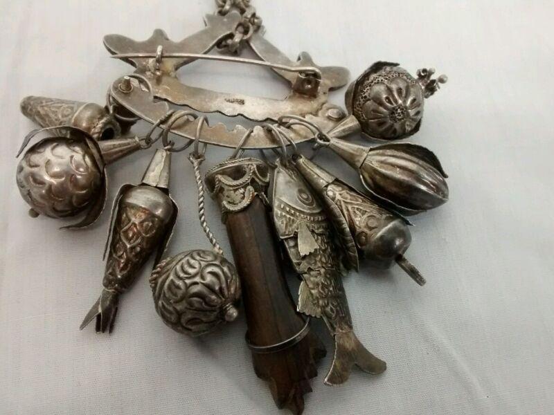 Vtg  833 silver Brazillian penca de balangand charms figa fist slave jewelry