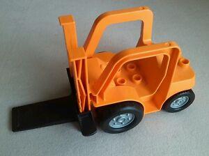 LEGO Duplo Gabelstapler Stapler orange schwarz Fahrzeug Eisenbahn Cargo