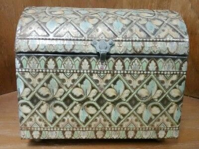 Vintage Baret Ware Hinged Tin Metal Trunk Box Treasure Chest Green Gold Floral
