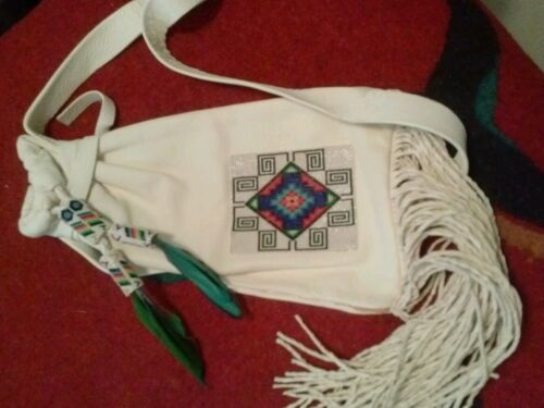 Native American Beaded Deerskin Bag 1