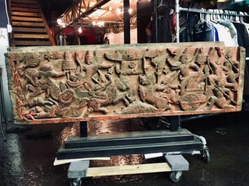 Ancient Cambodian Carved Teakwood Panel Art for Home