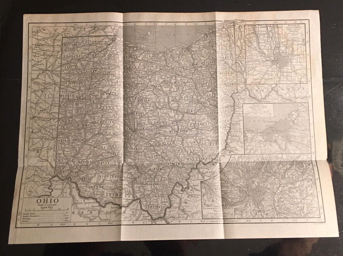 Authentic Antique 1910 Emery Walker Ohio Map w Railways Towns Etc Nice Insets