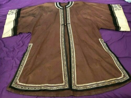 Antique Chinese Silk Robe Hand Embroidered Dress Floral Embroidery Stitching VTG