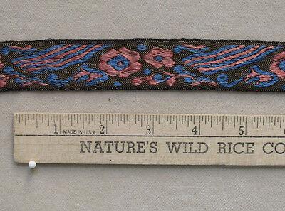 Jacquard Ribbon Embroidered Sewing Craft Trim Flower Floral Pink Blue Black Gold Pink Floral Gold Trim