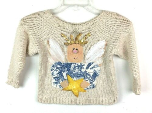 Vintage Clothiers Kids Size 3 4 Sweater Beige Angel Country Christmas Holiday