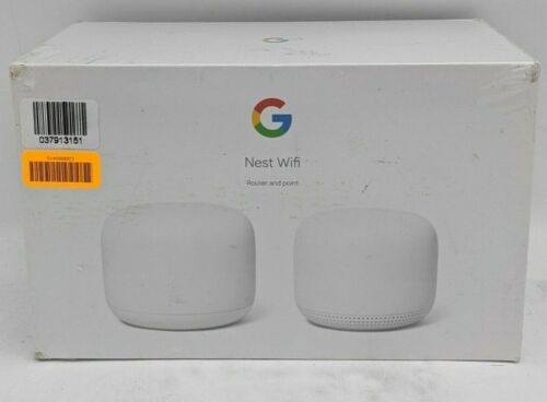 New Google Nest Dual Band Wifi Router and Point GA00822-US -TT0292