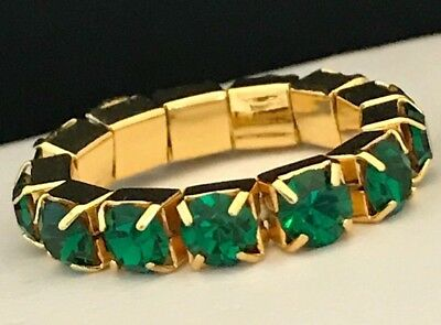 - DESIGNER Ring Gold Green Prong Set Crystal Band Design Premier Urban Chic 10A