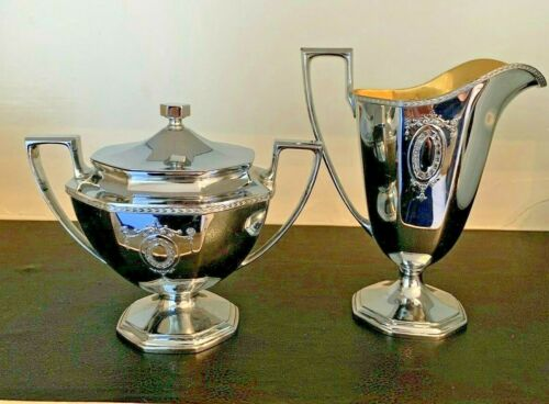 L. F. & C. INTERNATIONAL Silverplate Creamer And Sugar Bowl w/Lid